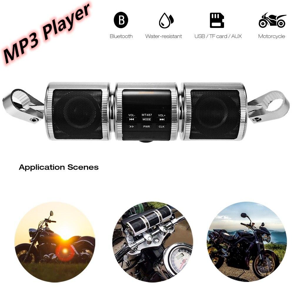 Motorcycle MP3 Player Bluetooth Speaker Music FM Radio Waterproof Adjustable Bracket Motorbike Audio Stereo Silver Black Color