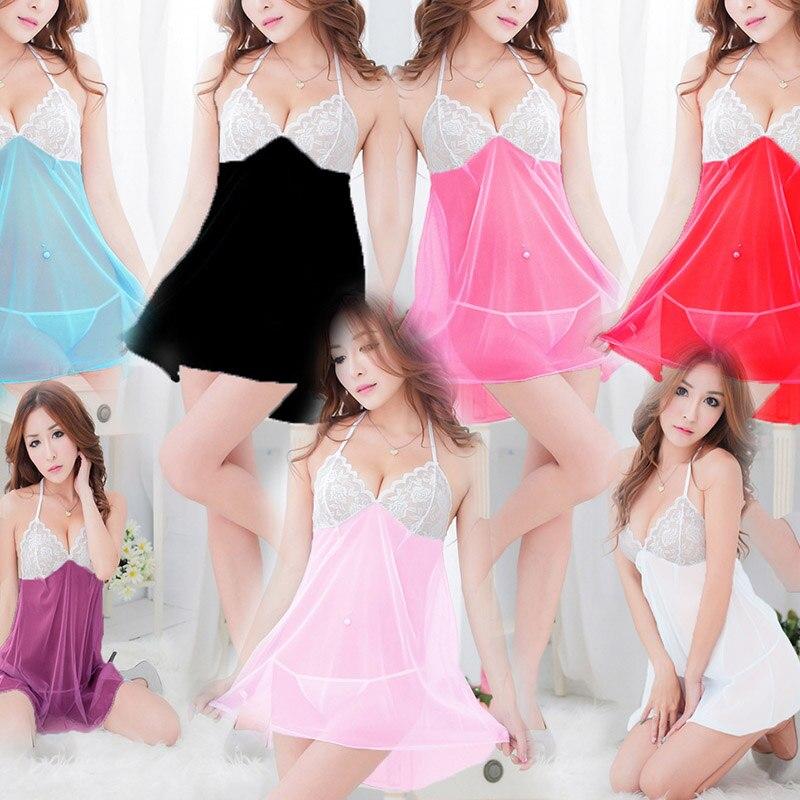 ملابس نوم نسائية حديثة طقم تي ظهر فستان نوم شفاف دانتيل منخفض القطع ملابس نوم الجنس فستان نوم five 66