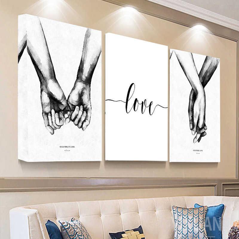 İskandinav el el tatlı aşk duvar sanatı tuval Poster Minimalist baskı aşk tırnak boyama resim oturma odası dekor için