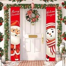Баннер с Санта Клаусом, Рождественское украшение для дома, декор для двери с Рождеством 2020, Рождественское украшение с новым годом 2021, Рожде...