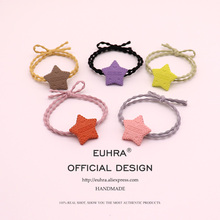 EUHRA 5 Colors Cookie Biscuit Shape Star Pentagram For Women Girls Elastic Hair Bands Kid Children Rubber Strong
