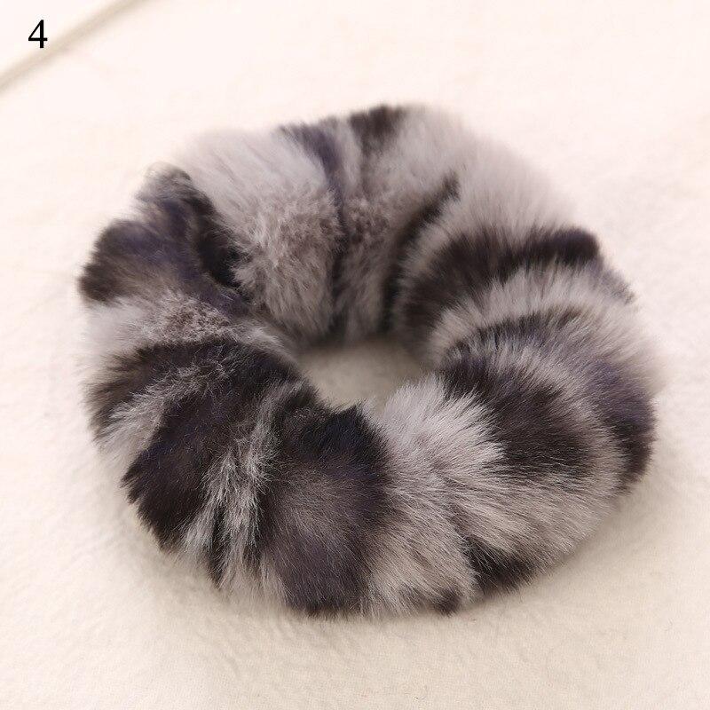 Новые зимние теплые мягкие резинки из кроличьего меха для женщин и девушек, эластичные резинки для волос, плюшевая повязка для волос, резинки, аксессуары для волос - Цвет: 4