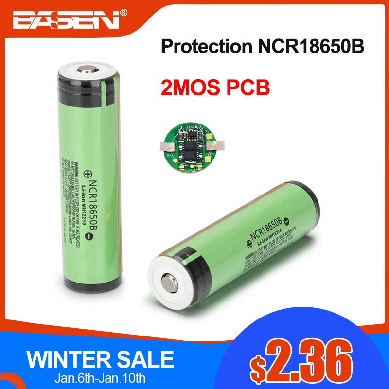 BASEN 2019 Original 18650 NCR18650B 3400mah Lithium Rechargeable battery 3.7v with PCB For Flashlight batteries