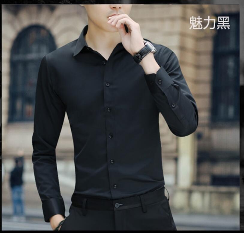 2020 NEW  Men's Cotton  Linen Shirt Maa1 Fashion  Slim Solid Color Linen Shirt Large Size Men's Shirt KW999-01-08