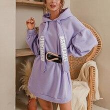 Paars Losse Pullover Truien Modus Women Casual Herfst Lange Mouw Pullover Jurk Vrouwelijke Übergroßen Sweatshirt