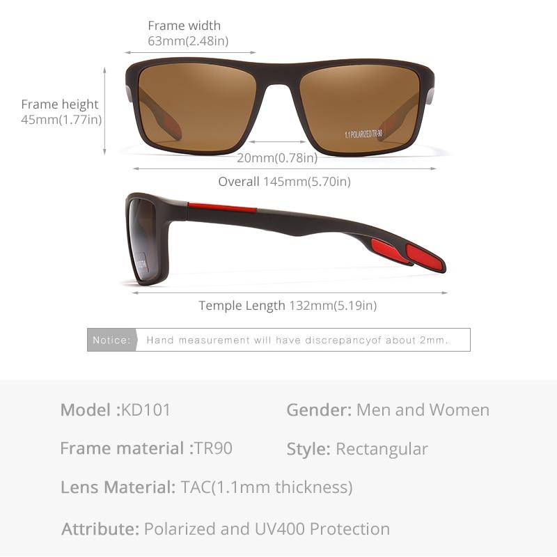KDEAM Rectangular Ultra Light TR90 Sunglasses Men Polarized TAC 1.1mm Thickness Lens Driving Sun Glasses Women Sports Cat.3 5