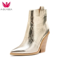 Snake Print Ankle Boots for Women Autumn Winter Western Cowboy Boots Women Wedge High Heel Boots Gold Silver Fashion Shoes