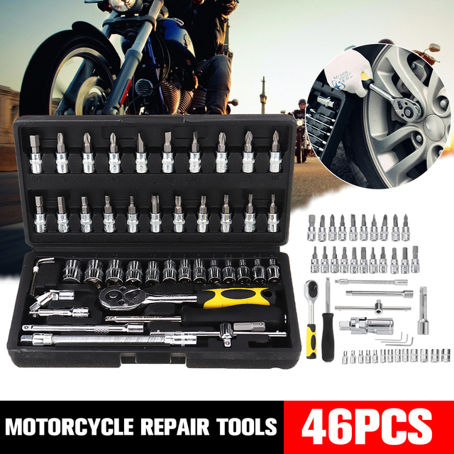46pcs/set Professional Wrench Socket Set Hardware Car Boat Motorcycle Repairing Tools Kit Multitool Hand Tools Car Styling + Box