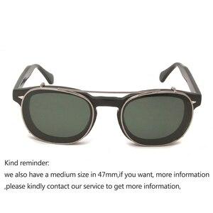 Image 2 - 작은 아세테이트 광학 안경 프레임 선글라스에 라운드 클립 남자 편광 된 uv400 고품질 여성 그늘 조니 depp 스타일