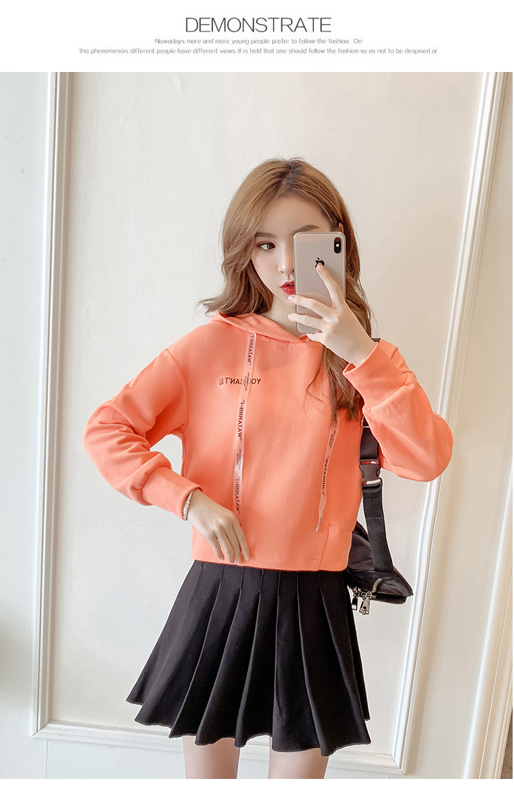 Autumn Cropped Hoodies Women 2019 New Korean Edition Long Sleeve Letter Print Hooded Casual Sweatshirt Pullovers Harajuku Tops 122