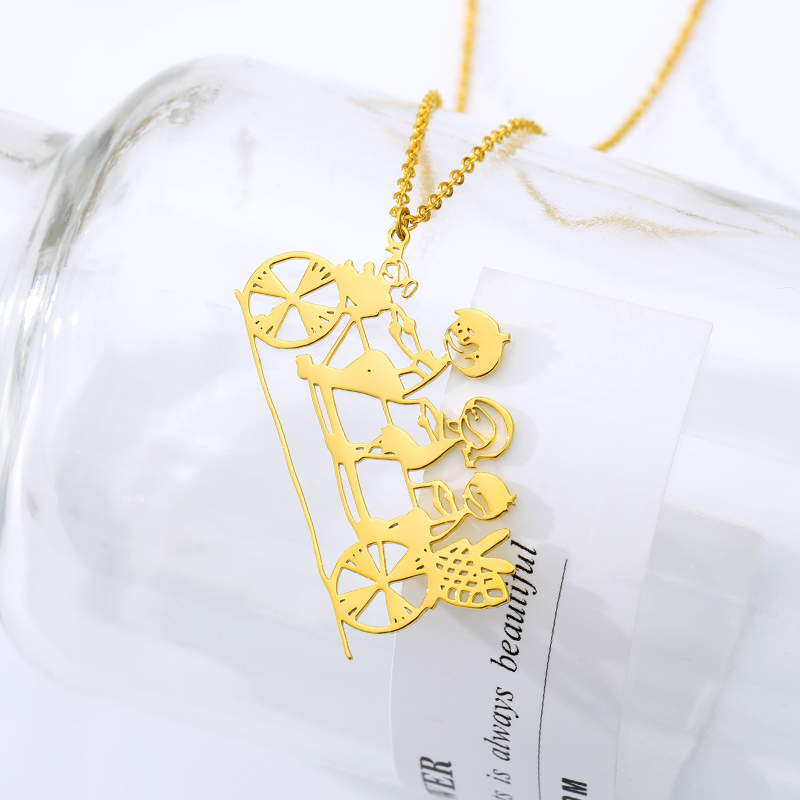 Personalized Children's Drawing Necklace Stainless Steel Silver Gold Chain Necklace For Women Girls Custom Jewelry for Kids Gift