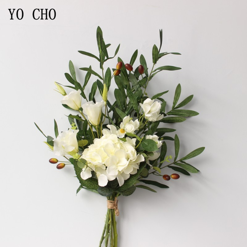 YO CHO Bride Bouquet Wedding Flower Artificial Silk Rose Flower Dropshipping Olive Eucalyptus Leaves Festival Wedding Decoration