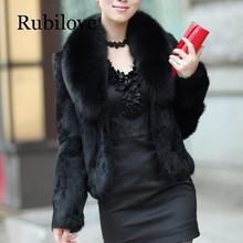 Rubilove Whole Skin Rabbit Fur Coat with luxury Real Natural Fox Collar Jacket Full Pelt Overcoat