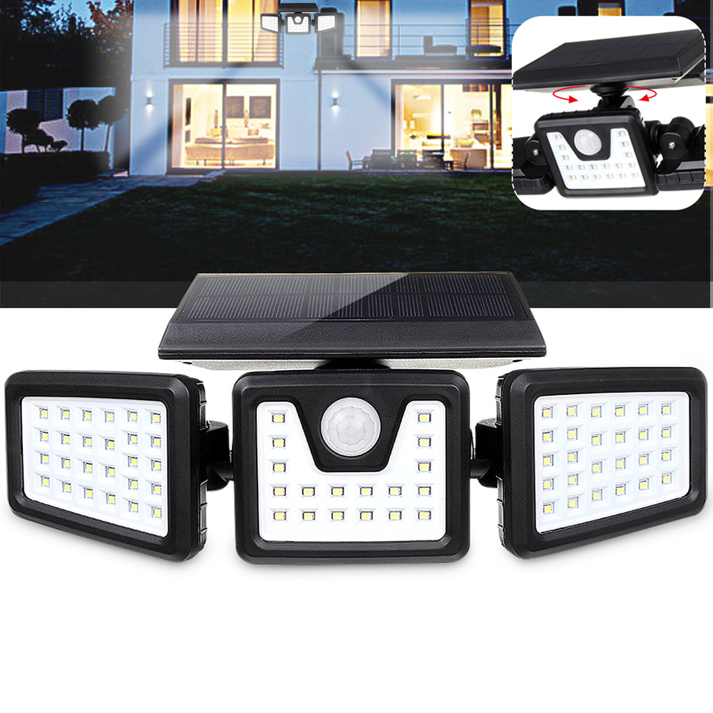 <font><b>70</b></font> <font><b>LED</b></font> <font><b>Solar</b></font> Lamp Three-Head <font><b>Solar</b></font> Motion Sensor Wall Lamp for Home Garden Decoration Outdoor Security Lighting Street Light image