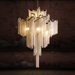 Modern Luxury Pendant Lights Hotel Hall Castle Stair Chain Fringed Pendant Hanging Light Home Dining Room Hotel Hall Decoration