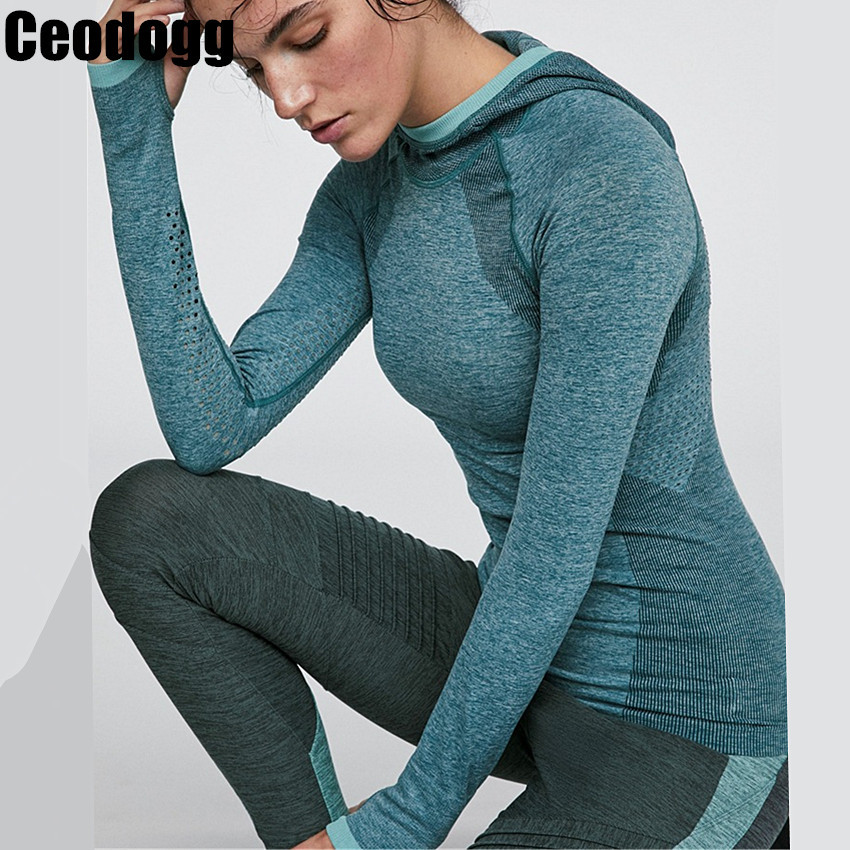 Woman Seamless Yoga Shirts Long Sleeve Hooded Sport Gym Shirt Fitness Tops Sportswear Athletic T-shirts Quick Dry Tracksuit