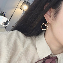 Wholesale Europe and the United States New Simple Peach Heart Earrings Hollow Love Ear Jewelry Short Popular europe and the united states simple fashion gold silver hollow six angle star bracelet hollow geometric bracelet female girl jew
