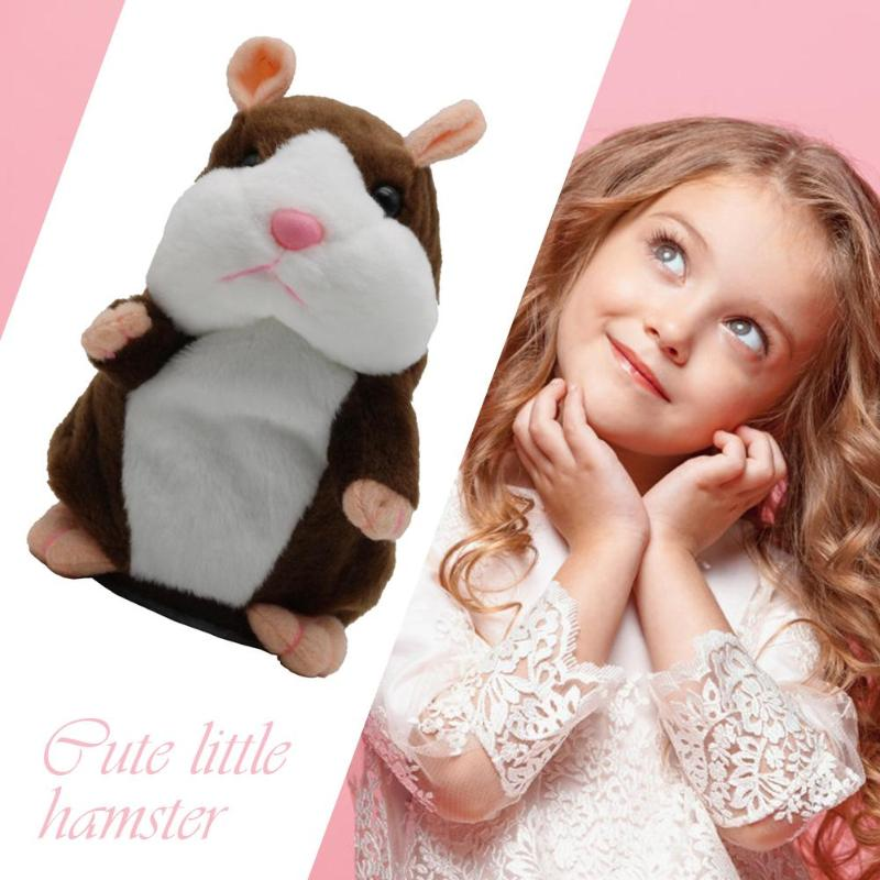 Funny Talking Hamster Stuffed Plush Animal Doll Sound Walking Speaking Record Repeat Educational Voice Changing Toys