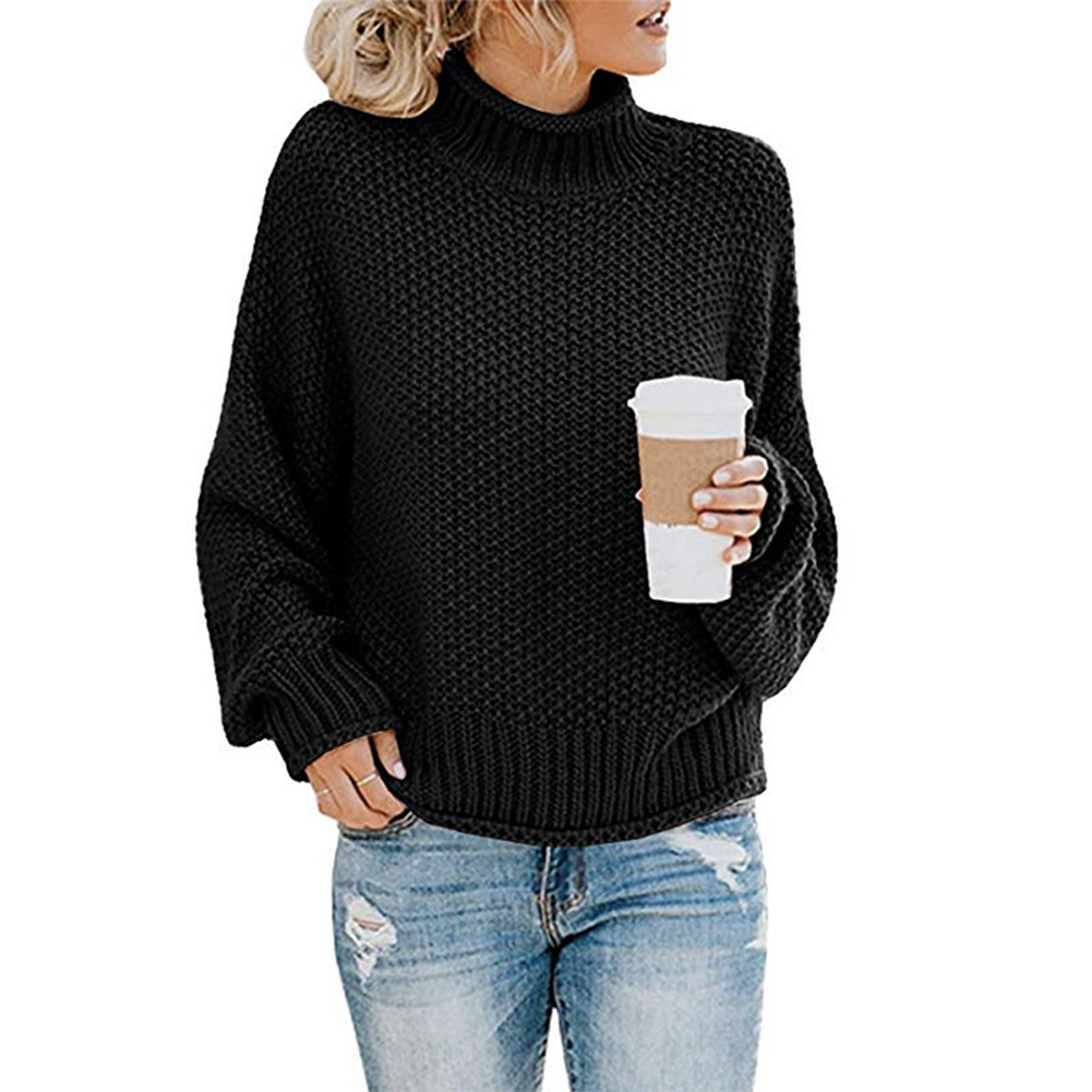 Tops Jumper Daily Winter Turtle Neck Oversized Women Sweater Solid Autumn Loose Knitted Pullover Casual Ladies Batwing Sleeve