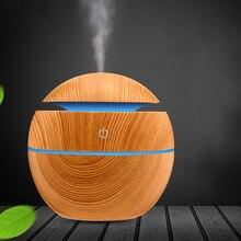 Electric Humidifier Essential Aroma Oil Diffuser Ultrasonic Wood Grain Air Humidifier USB Mini Mist Maker LED Light