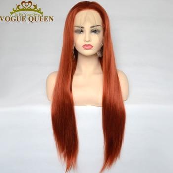 Vogue Queen Медь красные синтетические Синтетические волосы на кружеве парик прически Silky Straight, Термостойкое волокно, одежда на каждый день для Для женщин