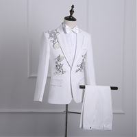Mens Floral Bling Sequins Suits Formal Coat Trousers Party Jackets Costume Tie hot B62