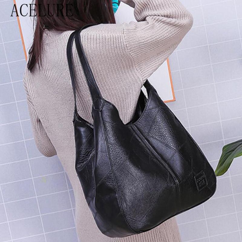ACELURE  High Capcaity Soft PU Leather Vintage Women Hand Bag Totes Designers Luxury Women Shoulder Bags Female Top-handle Bags 1