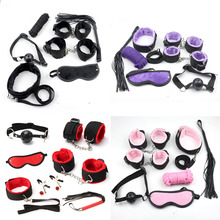 Leopard 7 Pcs set Sexy Lingerie PU Leather BDSM Sex Bondage Set Hand Cuffs Footcuff Whip Rope Blindfold Erotic Toys