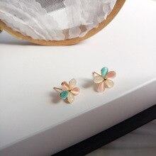 Korean Jewelry Colorful Temperament Flower Earrings Sweet Fancy Resin Stud Women Girls Student Gifts