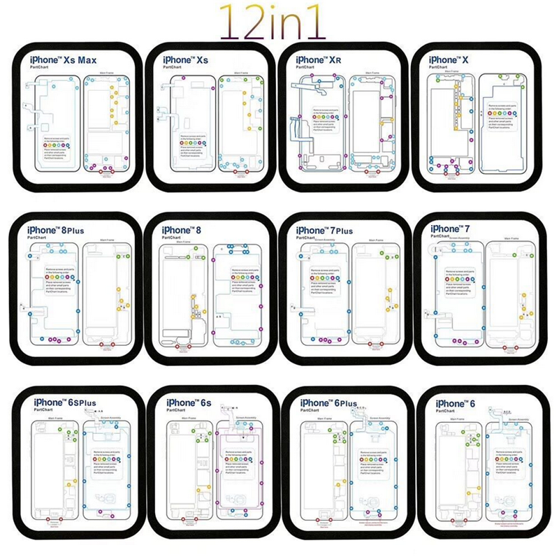 12pcs Magnetic Screw Chart Mat Repair Guide Pad Tools For IPhone 6- Xs Max