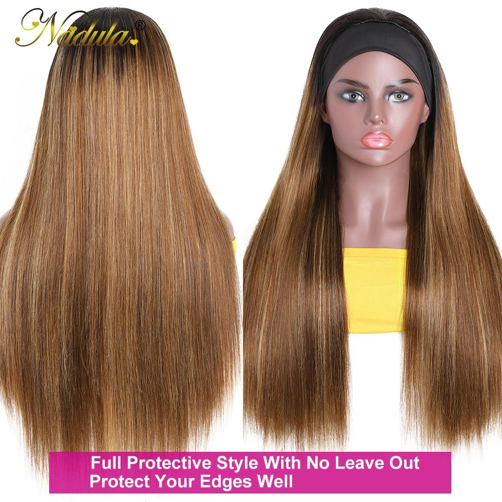 Nadula Highlight Straight Hair with Dark Roots Headband Wig  Honey Blonde Color Straight Hair Headband Wigs for Women 5