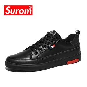 Image 2 - SUROM Luxus Marke Casual Männer Schuhe Leder Lace Up Fashion Classic Schwarz Weiß Turnschuhe Männer Mesh Atmungsaktive Zapatos De Hombre