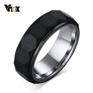 Vnox Hexagon Mens Rings Black Tungsten Carbide Unique Three-dimensional Surface Wedding Bands for Man Comfort Wear Anel
