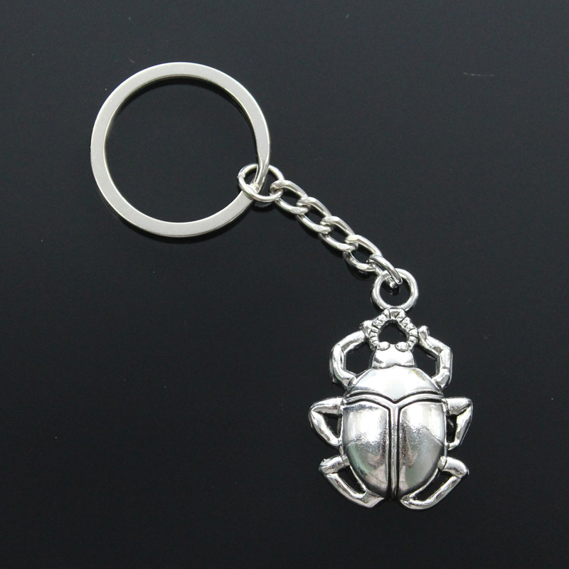 New Fashion Men 30mm Keychain DIY Metal Holder Chain Vintage Bug Beatles Beetle 40x27mm Silver Color Pendant Gift