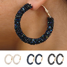 European and American best-selling fashion simple personality retro exaggerated Earrings large circle crystal earrings