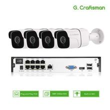 4ch 5MP аудио POE Комплект H.265 система видеонаблюдения безопасности NVR наружная Водонепроницаемая ip-камера наблюдения сигнализация Запись видео G. Craftsman