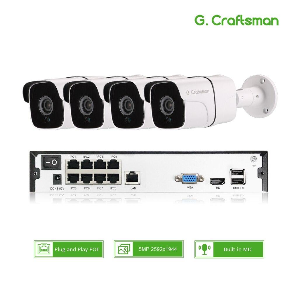 4ch Kit H.265 5MP Áudio POE Sistema NVR CCTV Segurança Impermeável Ao Ar Livre IP Câmera de Vigilância Gravação de Vídeo de Alarme G. artesão