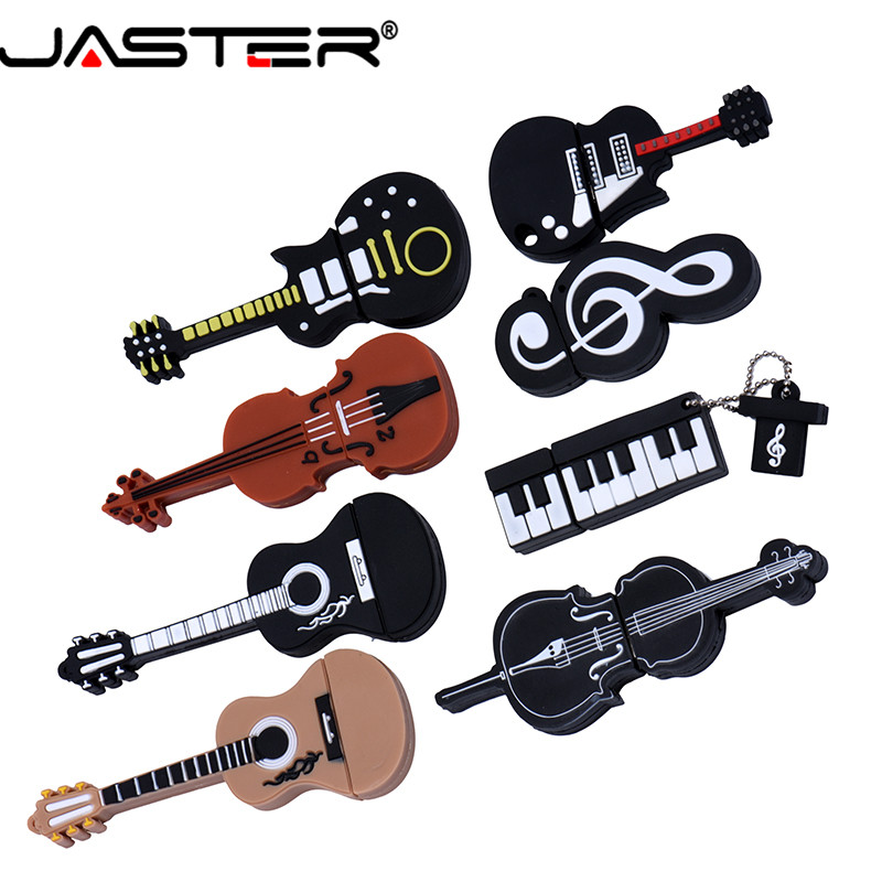 JASTER USB 2.0 8 Styles Of Musical Instruments Guitar Bass Piano Violin Keyboard Pen Drive 4GB 16GB 32GB 64GB USB Flash Drive