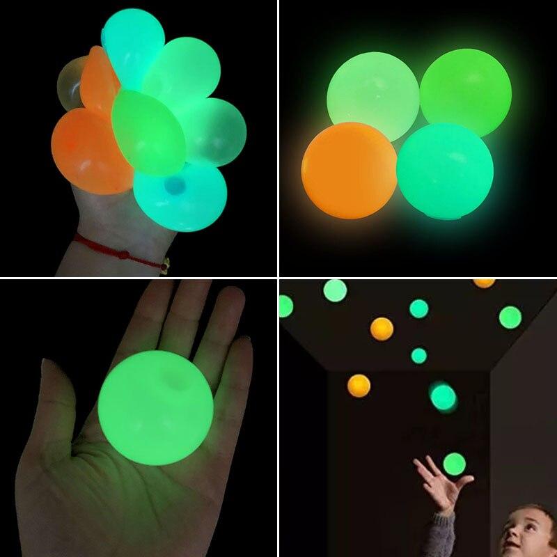 Alívio do estresse globbles fluorescente pegajoso alvo bola luminosa brinquedo crianças presente festa favor decoração novidade alívio do estresse 4.5cm