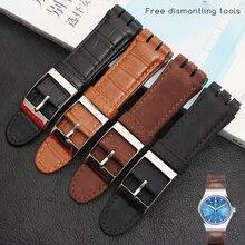 Pulseira de relógio de couro legítimo 23mm, pulseira de aço para swatch irony yos440 449 448 401g pulseira homem de pulso