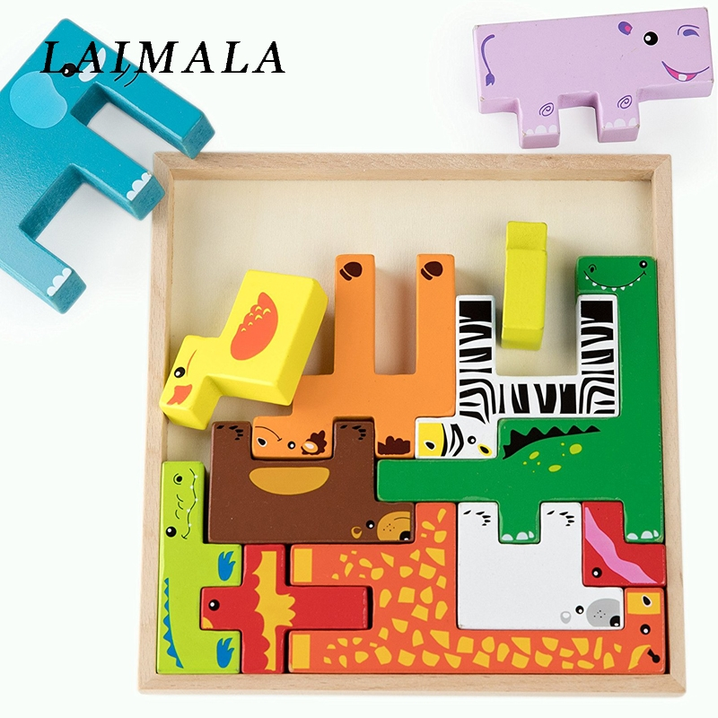 Colorful 3D Cartoon Animals Vehicle Wood Puzzles Jigsaw Toys For Children Intelligence Development Baby Early Educational Toys