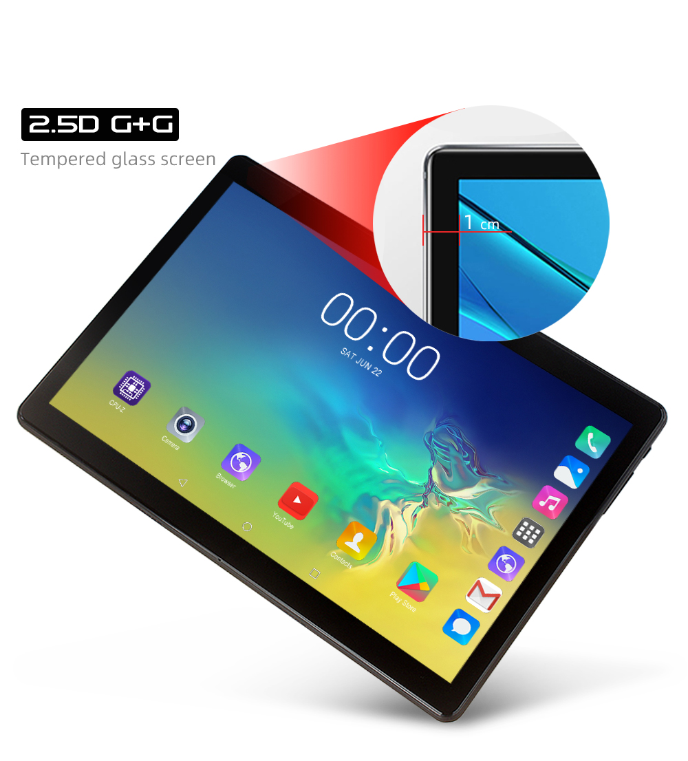 10.1 Inch 2.5D Glass Screen 4G LTE Dual SIM Card Tablet PC 10 Core 6GB RAM 128GB ROM Tablets Android 8.0  Bluetooth GPS Tablets
