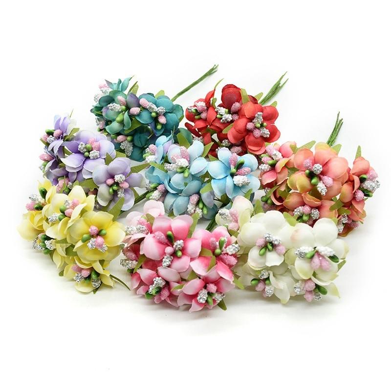 6pcs Gradient Stamen Handmade Silk Artificial Flower Bouquet DIY Wreath Gift Scrapbooking Craft Fake Flower Wedding Decoration
