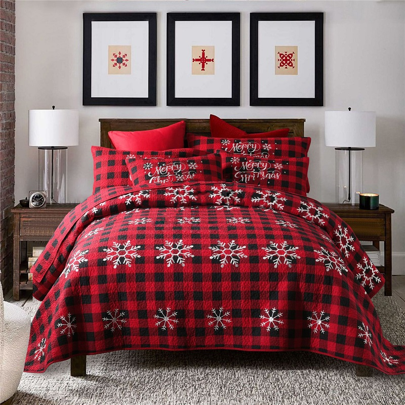 christmas style bedspreads for bed quilt set 3pcs cotton quilts red quilted coverlet bed cover king queen size bedding blanket