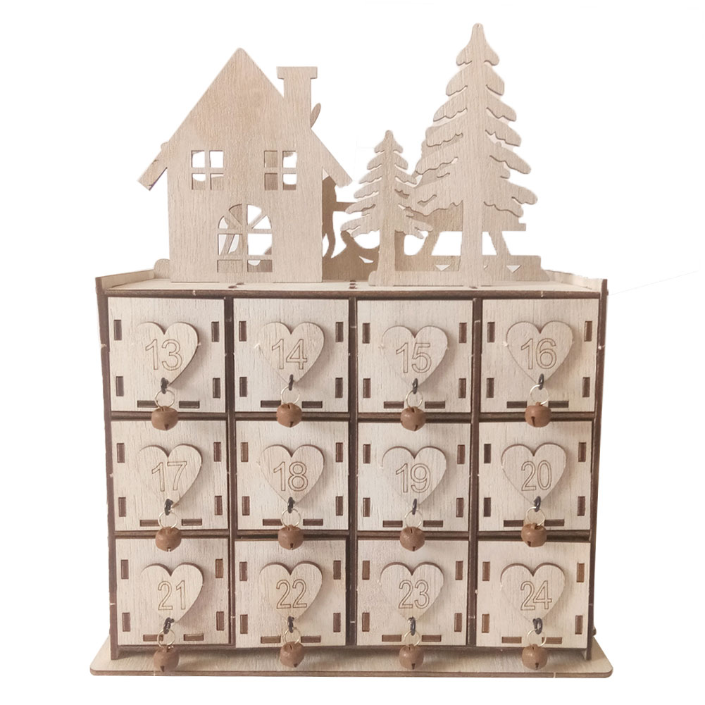 Advent Calendar Storage Box Jewelry Case Home Crafts Deer Gift Decorative Wooden Ornament Desktop Christmas With Small Drawer