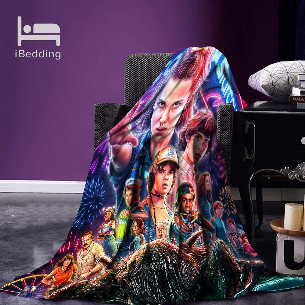Hot Movie Stranger-Things  Fleece Throw Blanket Print on Demand Flannel Blankets for Sofa Customized DIY Dropshipping-0