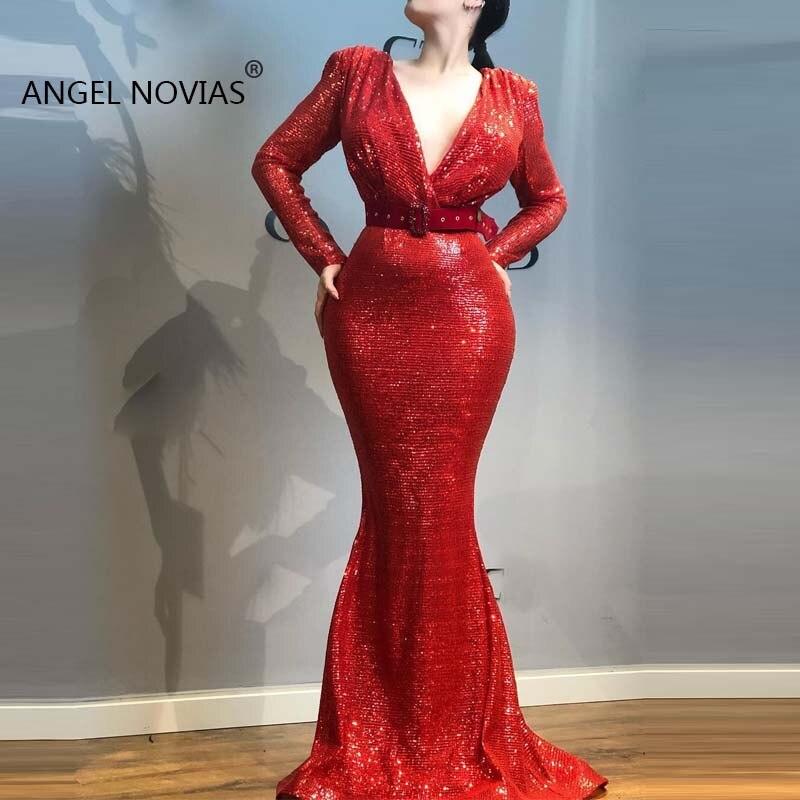 Long Sleeves Mermaid V Neck Red Evening Dresses 2019 Vestido De Noche