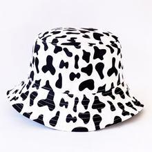 Women Black White Cow Pattern Fisherman Hat Bucket Hat Sunscreen Korean Fashion