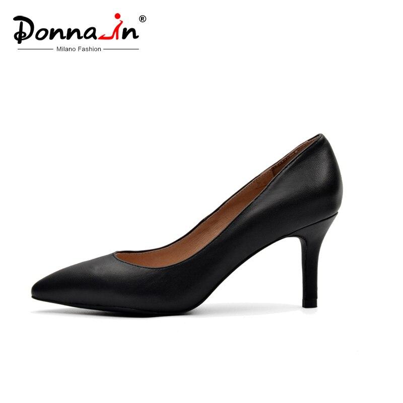 Donna หนังแท้รองเท้าผู้หญิง 2019 ฤดูใบไม้ผลิชี้ Toe ปั๊มปั๊มส้นสูงหนังนิ่ม 7.5 ซม. heel Party สุภาพสตรีรองเท้า-ใน รองเท้าส้นสูงสตรี จาก รองเท้า บน   1