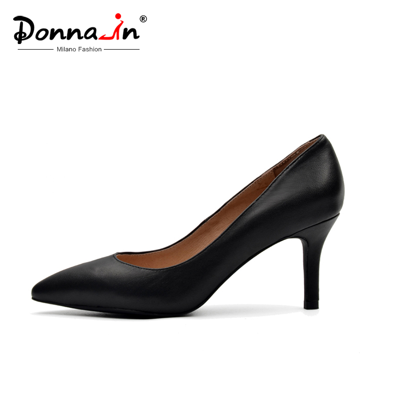 Donna-in Clearance Genuine Leather Women Shoes 2020 Spring Pointed Toe Thin High Heel Pumps Kid Suede Heel Party Ladies Shoes